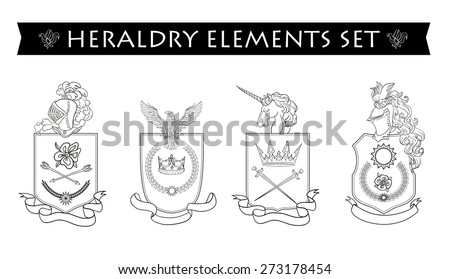 Vector Heraldry Emblem Collection Coat Arms Stock Vector 274354631