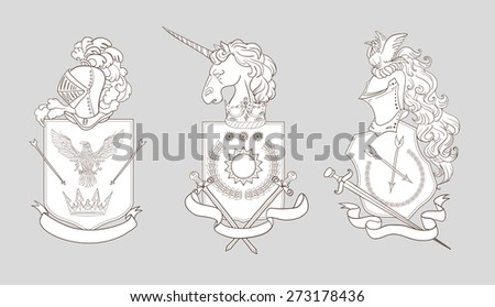 Vector Heraldry Emblem Collection Isolated On Stock Vector