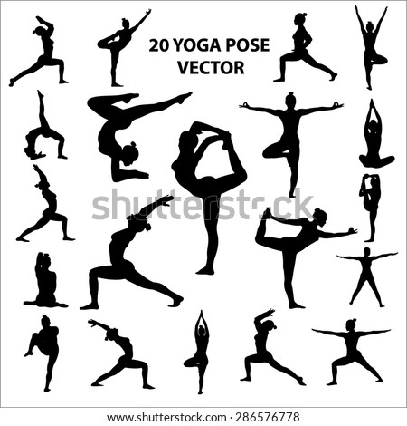 20 Vector icon of woman  silhouettes in yoga positions - stock vector