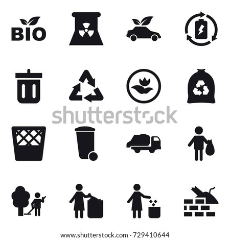 16 vector icon set : bio, nuclear power, eco car, battery charge, bin, ecology, garbage bag, trash bin, trash truck, trash, garden cleaning, garbage bin, construct garbage