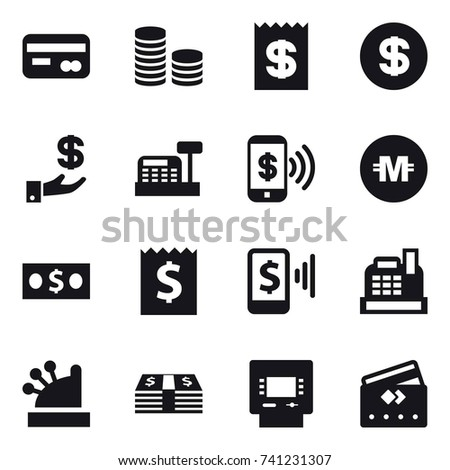 16 vector icon set : card, coin stack, receipt, dollar, investment, cashbox, phone pay, crypto currency, money, mobile pay, atm, credit card