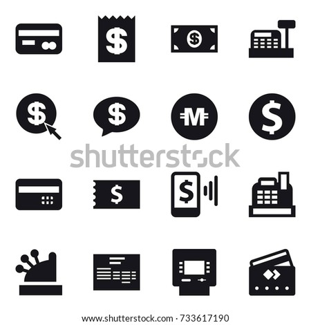 16 vector icon set : card, receipt, money, cashbox, dollar arrow, money message, crypto currency, dollar coin, credit card, mobile pay, atm