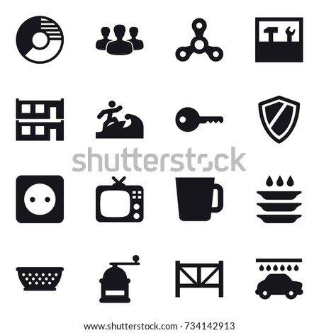 16 vector icon set circle diagram stock vector 734142913 16 vector icon set circle diagram group spinner tools modular house ccuart Image collections
