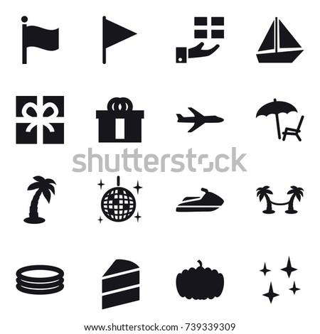 16 vector icon set flag gift stock vector 739339309   shutterstock  rh   shutterstock