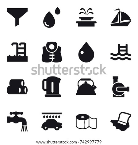 16 Vector Icon Set Funnel Fountain Sail Boat Pool Life Vest