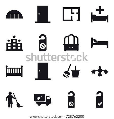 16 vector icon set : hangare door plan hospital hotel do