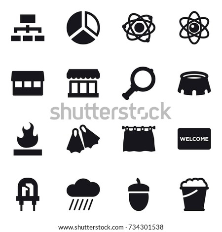 16 vector icon set atom table stock vector 735640567 shutterstock 16 vector icon set hierarchy diagram atom market magnifier stadium ccuart Choice Image