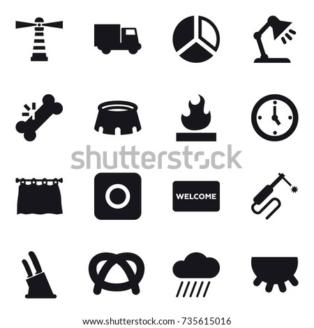 16 vector icon set lighthouse truck stock vector 735615016 16 vector icon set lighthouse truck diagram table lamp stadium ccuart Choice Image