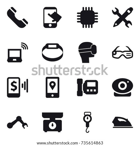 16 Vector Icon Set Phone Touch Stock Vector 735614863 Shutterstock