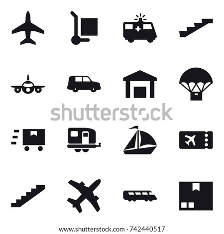16 vector icon set : plane, cargo stoller, stairs, trailer, sail boat, ticket, package