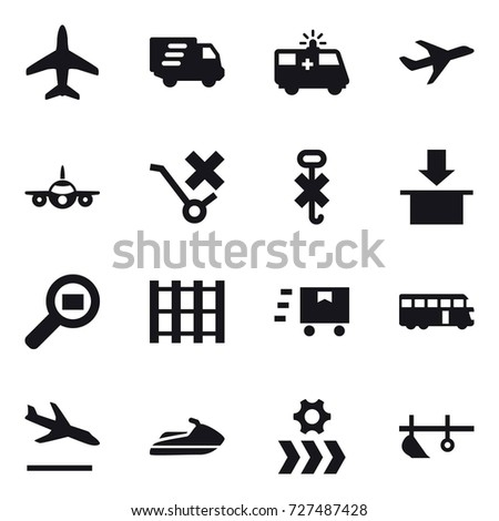 16 vector icon set : plane, delivery, bus, arrival, jet ski, plow