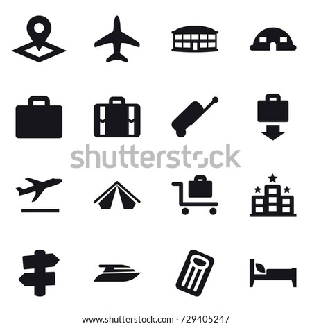 16 vector icon set : pointer, plane, airport building, dome house, suitcase iocn, suitcase, baggage get, departure, tent, baggage trolley, hotel, signpost, yacht, inflatable mattress, bed