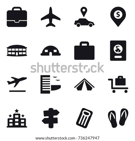 16 vector icon set : portfolio, plane, car pointer, dollar pin, airport building, dome house, suitcase iocn, passport, departure, hotel, tent, baggage trolley, signpost, inflatable mattress