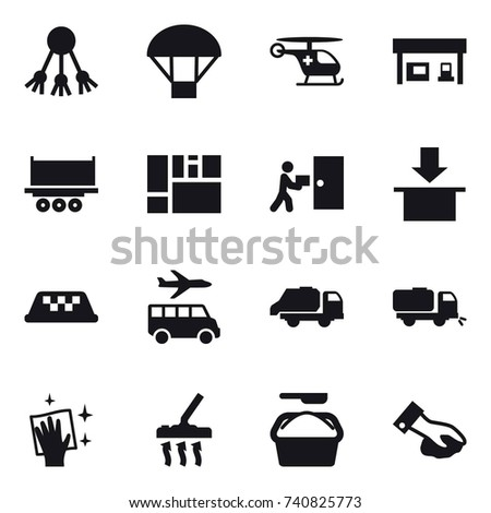 16 vector icon set : share, parachute, gas station, taxi, transfer, trash truck, sweeper, wiping, vacuum cleaner, washing powder