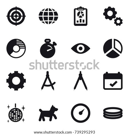 16 Vector Icon Set Target Globe Report Gear Circle Diagram