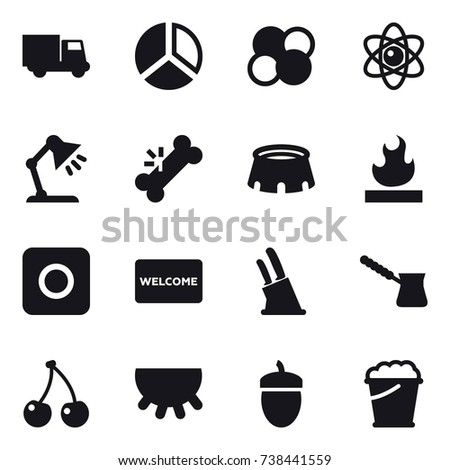 16 vector icon set truck diagram stock vector 738441559 shutterstock 16 vector icon set truck diagram atom core atom table lamp ccuart Choice Image