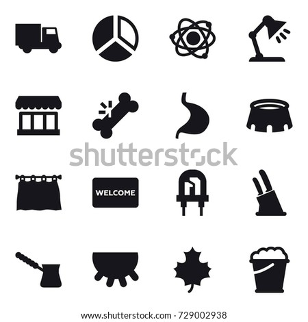 16 vector icon set diagram atom stock vector 730532872 shutterstock 16 vector icon set truck diagram atom table lamp market ccuart Choice Image