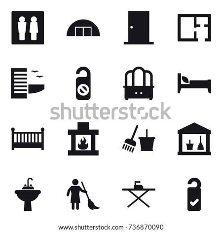 16 vector icon set : wc hangare door plan hotel do