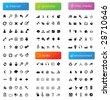 150 vector icons divided into five categories (internet, economy, audio, misc. media and environment) - stock vector