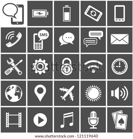 25 Vector Icons for mobile applications. Mobile Interface Icon Set. Simplus series. Each icon is a single object (compound path) - stock vector