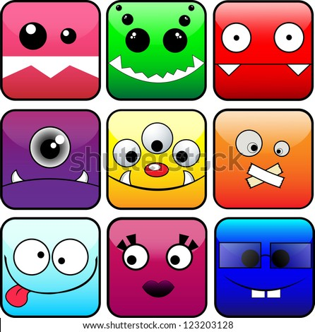 9 vector icons of monsters. EPS10 vector illustration - stock vector