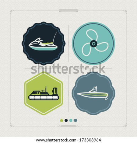 4 vector icons related to ships, boats and other objects/symbols in relation to boat swimming, pictured here: Water scooter (motor boat), Propeller, Hovercraft, Wakeboard boat.  - stock vector