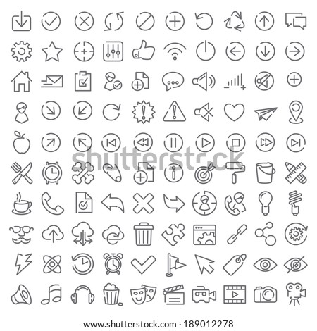 100 vector icons set for web design and user interface - stock vector