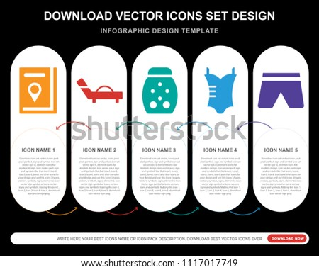5 Vector Icons Such As Travel Guide Sunbed Firefly Bikini Swimsuit For