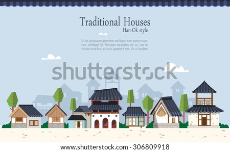 Vector illustration featuring the old town surrounded by ramparts with Korean houses  with tiled roofs. Suitable for traditional holiday.Asian traditional architecture style  and maple trees. - stock vector