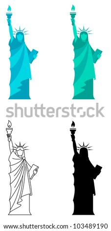 4 vector illustration for Statue of Liberty in New York City. - stock vector