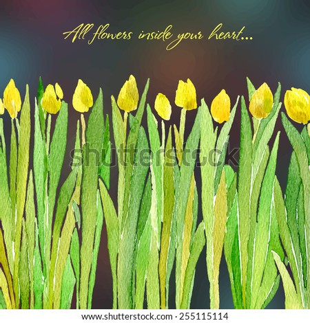 Vector illustration for Woman's Day and different holidays. Cute summer and spring card. Floral pattern with watercolor flowers on the blurred background. Isolated tulips - stock vector