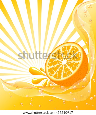 vector illustration of a beautiful Orange background with a sun.