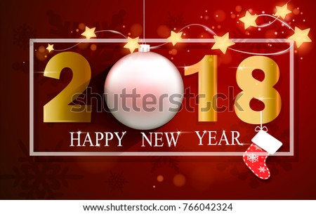 vector illustration of a happy new year 2018 gold and red colors. Christmas  Ball