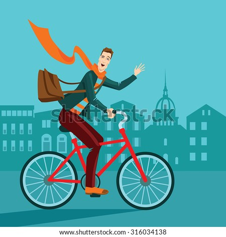 vector illustration of a man riding a bicycle on city background , cartoon style - stock vector