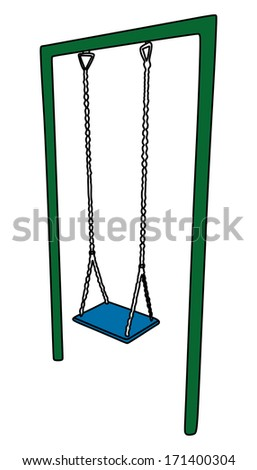 vector illustration of a playground swing set - stock vector