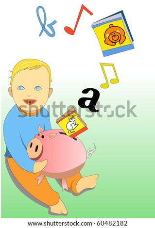 Vector illustration of baby playing with piggy bank and book - stock vector