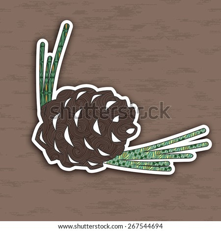 Vector illustration of colorful pinecone. Pop-art  Image for design. - stock vector