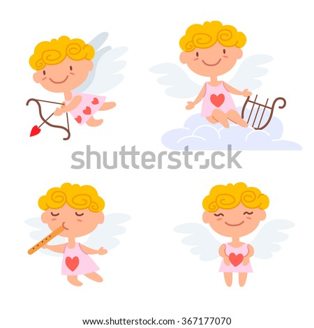 Vector illustration of cute Cartoon cupids. Valentine's day design concept. Cupid angels playing, shoots a bow and giving hearts isolated on white background. - stock vector