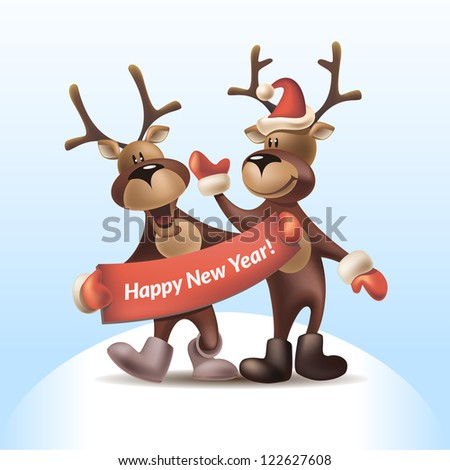 2016 Vector Illustration of Deers with Congratulation - stock vector