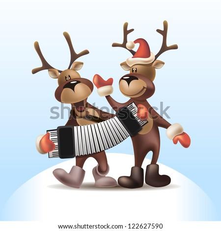 2016 Vector Illustration of Deers with Harmonica - stock vector