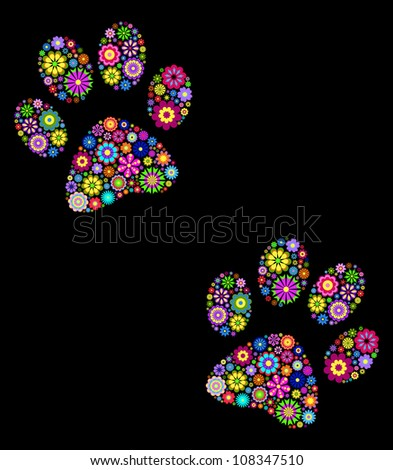 vector illustration of  floral  animal paw print on black background - stock vector