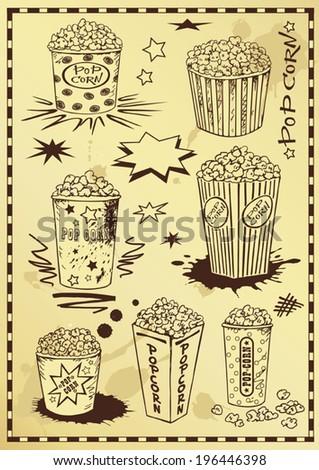 vector illustration of hand drawing popcorn - stock vector