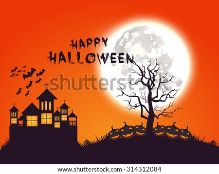 Vector illustration of Happy Halloween Poster.