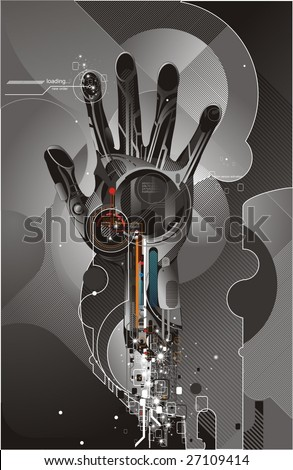 vector illustration of high tech cybernetic hand - stock vector