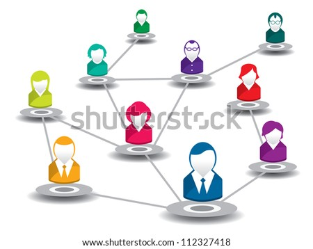vector illustration of people in a social network - stock vector
