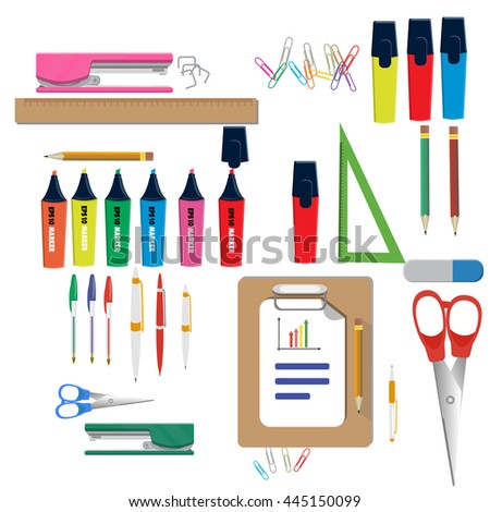 colorful office accessories. Vector Illustration Of School Supplies Learning Equipment And Different Colorful Office Accessories. Accessories E