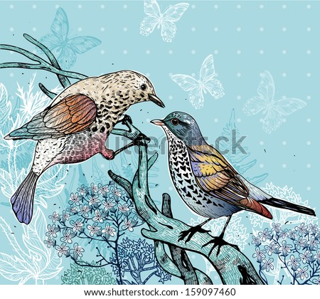 vector illustration of two forest birds and blooming plants - stock vector