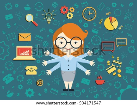 Vector illustration of young business woman, personal assistant or hard working secretary. Busy secretary managing her work with a smile. Business idea concept with icons of office work and ecommerce