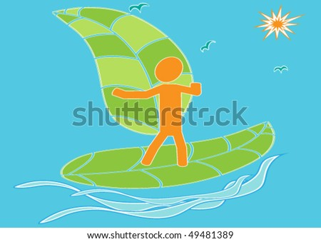 Vector illustration on ecological also it is sports-extreme a theme with the symbolical image of the teenager of the surfer.