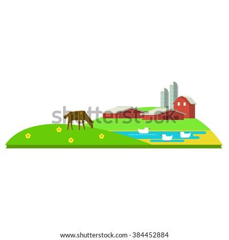 Vector illustration rural landscape. Rural landscape with hill, farm, animals. Rural life. Rural lifestyle. Rural landscape with rural buildings, farm, valley. Rural landscape with animal farm. - stock vector